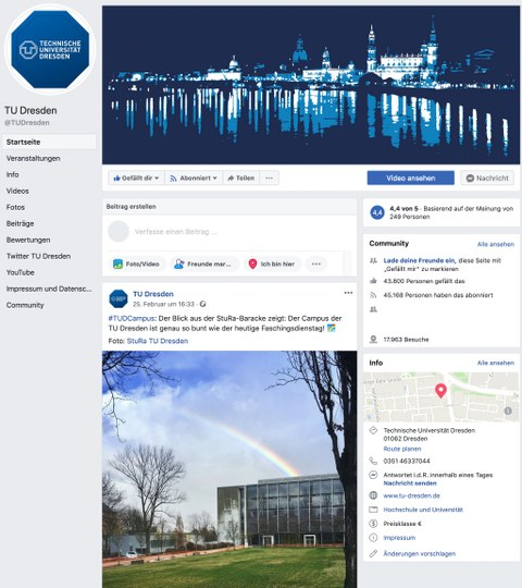 Screenshot of TU Dresden's Facebook-Channel