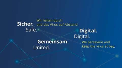 Grafik mit folgenden Textelementen: Sicher. Gemeinsam. Digital. Wir halten durch und das Virus auf Abstand.