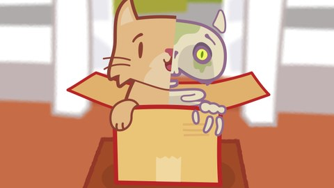 Karrikatur einer Katze, die aus einer Kiste schaut. Der rechte Teil ist als Skelett dargestellt.