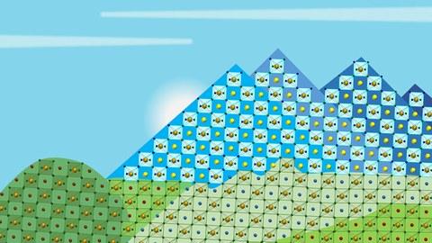 Grafik einer Landschaft aus kristallinen Strukturen, rechts unten ein Strauch, daneben Wiese, im Hintergrund Berge und ein blauer Himmel.