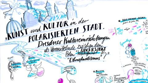 In hellblau/weiß gezeichnete Ankündigung des Projektberichts