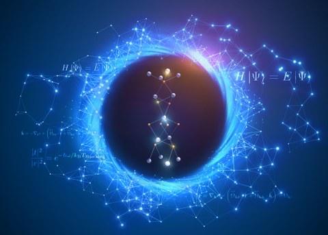 Vereinfachte Darstellung eines Schwarzen Loches in Blautönen