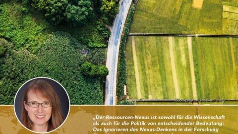 Unten links ist in einem Kreis das Foto von Frau Prof. Günther zu sehen, daneben ein Statement von ihr. Darüber ist die Luftaufnahme einer Feld- und Waldlandschaft zu sehen.