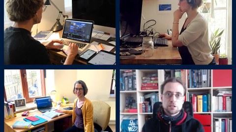 Eine Collage aus 4 Bildern, auf jedem ist ein Mann bzw. eine Frau am Schreibtisch zu sehen.
