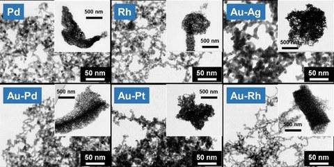 Transmissionselektronenmikroskopische Aufnahmen von verschiedenen hierarchisch-strukturierten NMAs