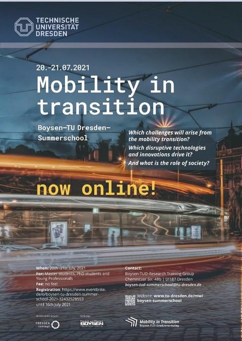 """Plakat der Summer School mit der Überschrift """"Mobility in transition"""", man sieht das Schema einer Bahn vor einer Altstadtkulisse"""