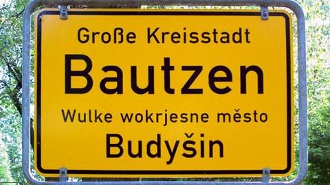 Ortsschild von Bautzen