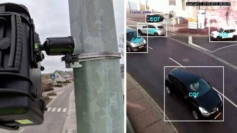 Rechts in der Collage ist eine Videokamera zu sehen, rechts von der Kamera erfasste und mit einem Viereck markierte Autos.