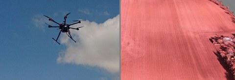 Fotocollage, links ist eine Drohne vor einem bewölkten, blauen Himmel zu sehen. Rechts ein rotes Getreidefeld von oben.