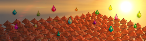 Den Hintergrund bildet ein Himmel in gelb-orange, rechts leuchtet die Sonne. Davor sind orangefarbene kleine Pyramiden zu einem Rechteck angeordnet auf die bunte Tropfen fallen.