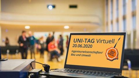 Vor einer Gruppe Studenten steht rechts im Bild ein aufgeklappter Laptop mit Werbung für den Unitag am 20.6.