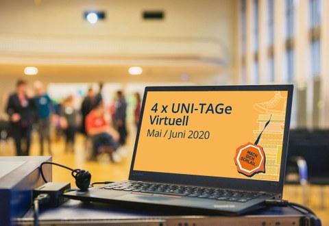 Ein geöffneter Laptop mit der Ankündigung für den Unitag 2020 steht im linken Vordergrund, im Hintergrund Studenten