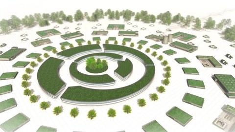 Stilisierte Gebäude in grün, gemeinsam mit Bäumen in mehreren Kreisen auf weißem Untergrund angeordnet.