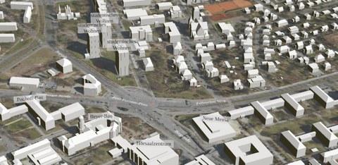 Blick auf ein Modell zur Neuplanung des Fritz-Foerster-Platzes