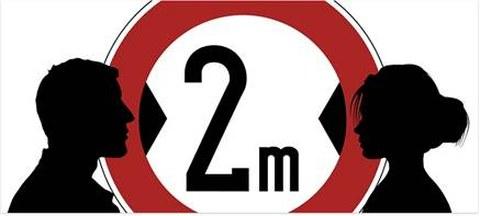 Symbolbild 2 m Abstand einhalten