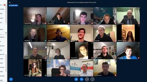 Screenshot der Preisverleihung per Videokonferenz.