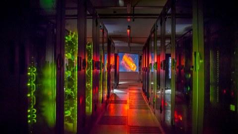 Blick in das Rechenzentrum des HZDR