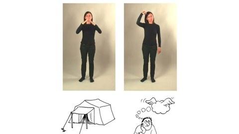 Eine junge Frau in schwarzer Kleidung zeigt auf zwei nebeneinanderstehenden Fotos die Gesten für Zelt und Gedanke