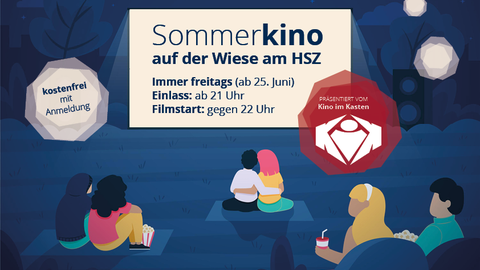 """Grafik: Vor einer Kinoleinwand mit der Aufschrift """"Sommerkino auf der Wiese am HSZ"""" sitzen gemalte Figuren. Im Hintergrund ein Nachthimmel"""