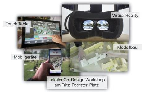 Es sind von links oben nach links unten im Uhrzeigersinn ein Tablett, eine Virtual Reality Brille, ein Architekturmodell und ein Handy zu sehen, auf den Displays jeweils Modelle des Fritz Foerster Platzes
