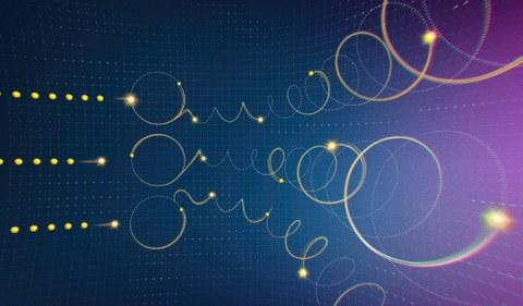 Stilisierte Darstellung von Elektronenbahnen vor blau-violettem Hintergrund.