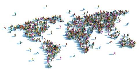 bunte Menschen bilden die Kontinente