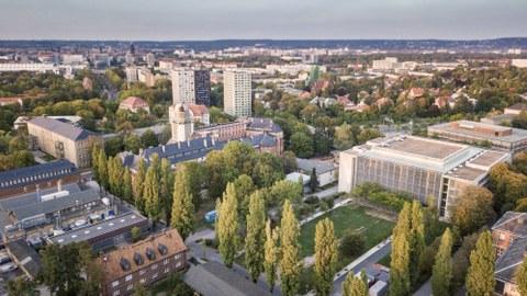Luftbild vom Campus der TU Dresden