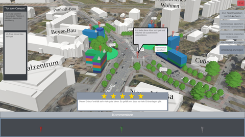Screenshot der Abstimmung zur Neugestaltung des Fritz-Foerster-Platzes. Man sieht ein Modell des Platzes mit Kommentaren.