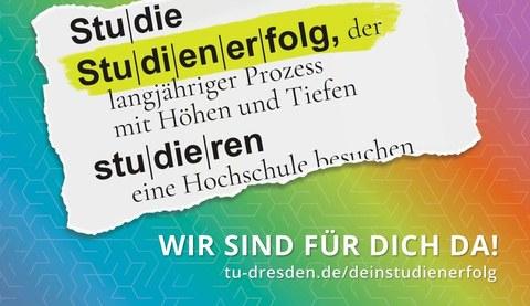 """Das Wort """"Studienerfolg"""" und darunter die Umschreibung als Ausriss gestaltet leicht schräg auf regenbogenfarbigem Untergrund"""
