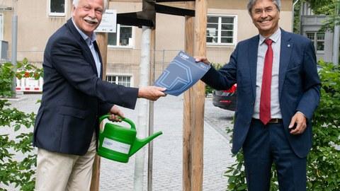 Prof. Müller-Steinhagen steht rechts im Bild und übergibt eine Urkunde an Prof. Bürger, der links im Bild ist. Beide stehen vor dem Baum, den Prof. Bürger gestiftet hat.