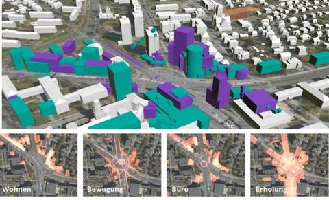 Oben Modell des Fritz-Foerster-Platzes mit Bebauung, darunter vier Satellitenfotos des Platzes, beschriftet mit Wohnen, Bewegung, Büro, Erholung