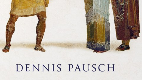 """Buchcover mit dem Titel: Dennis Pausch """"Virtuose Niedertracht"""" Die Kunst der Beleidigung in der Antike. Über dem Titel sind drei antike Personen zu sehen."""