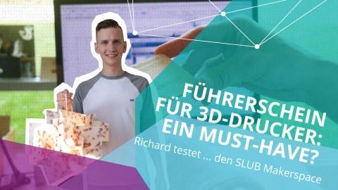 """Ein junger Mann mit einem 3D-Objekt in der Hand, rechts der Schriftzug """"Führerschein für 3D-Drucker: Ein Must-have?"""