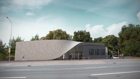 Ein Gebäude aus Carbonbeton mit geschwungenem Dach steht an einer Straße, rings wachsen Bäume