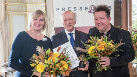 Prof. Gerhard Ehninger (M.), Bettina Klemm und Sebastian Krumbiegel