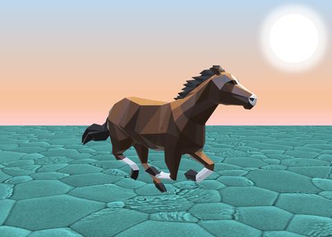 Animation eines Pferdes auf türkisfarbenem Grund
