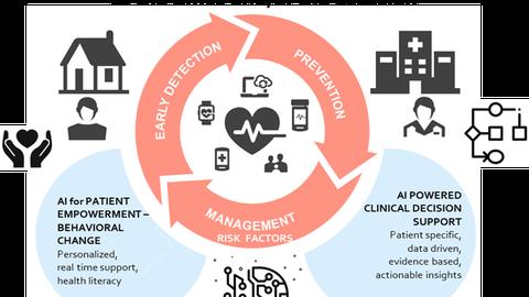 Um einen hellroten Ring in der Mitte der Grafik (beschriftet mit Prevention, Risk Management und Early Detection) sind die Vorgehensweisen gegen Herzkrankheiten darstellt