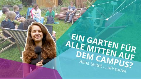 """Links eine junge Frau mit Mikrophon in der Hand, rechts der Schriftzug """"Ein Garten für alle auf dem Campus? Alina testet ... die tuuwi"""