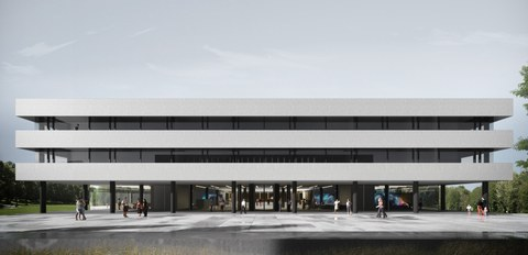 Visualisierung des geplanten Forschungsneubaus für das Lehmann-Zentrum auf dem Campus der TU Dresden