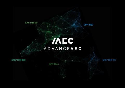 Logo des AdvanceAEC, die Namen der Mitglieder sind kreisförmig auf schwarzem Grund zu lesen