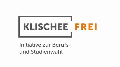 """Schriftzug in einem dunkelgrauen Rahmen """"Klischee (in Dunkelgrau) Frei (in Orange). Darunter """"Initiative zur Berufs- und Studienwahl"""""""
