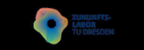 """ein Kreis aus wellenartigen linien mit dem Oktagon der TU im Zentrum. Rechts daneben der Text """"Zukunftslabor TU Dresden"""""""