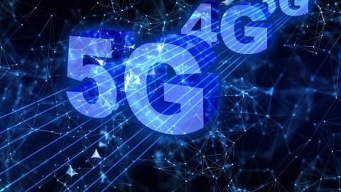 Grafik mit dunkelblauem Hintergrund, darauf von groß nach klein 5G, 4G, 3G