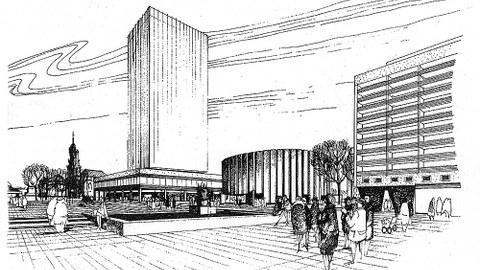 Wettbewerbsentwurf Fasold/Sziegoleit für das Filmtheater Prager Straße - ein Rundbau mit zweitem, innen liegenden Zylinder als Kinosaal (1966).