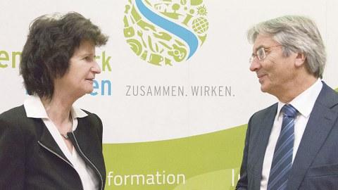 Staatsministerin Dr. Eva-Maria Stange und TUD-Rektor Prof. Hans Müller-Steinhagen.