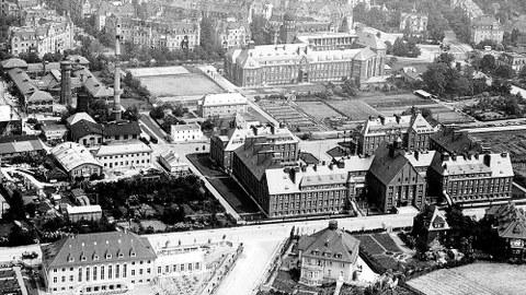 Luftaufnahme des TH-Geländes in Richtung Norden (1930er-Jahre).