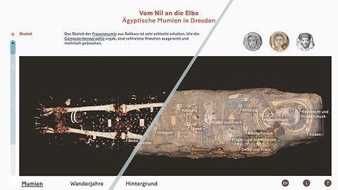 Die von der Ausgründung der TUD-Fakultät Informatik entwickelte digitale Medienstation lüftet die Geheimnisse der ägyptischen Mumien in den Staatlichen Kunstsammlungen Dresden. Hier ein Screenshot von der Medienstation, der die Abwicklung der Mumie zeigt.