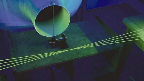 Strömungsmesstechnik: Nutzung von vier grünen, frequenzkodierten Laserstrahlen für hochaufgelöste Geschwindigkeitsmessungen von Fluiden .