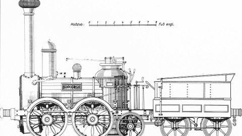 Zeichnung von der »Saxonia« mit Tender, die erste in Deutschland gebaute und betriebstüchtige Dampflok.