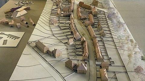Das im Sommersemester 2020 von Studierenden der TUD-Architektur angefertigte detaillierte Stadtmodell im Maßstab 1:200.